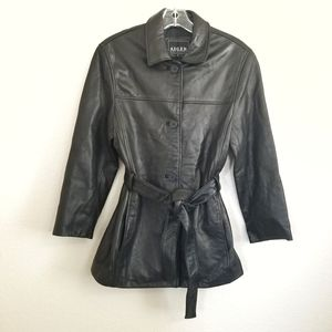 Adler Collection Black Belted Leather Jacket Small